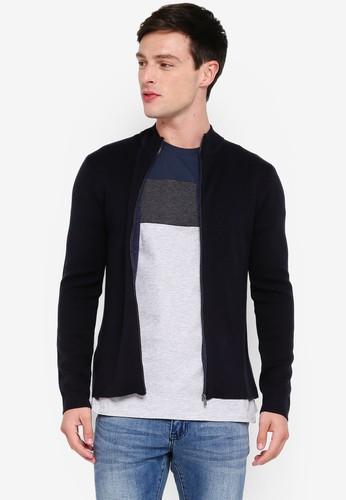 MANGO Man navy High Collar Basic Cardigan 11343AA11134B5GS_1