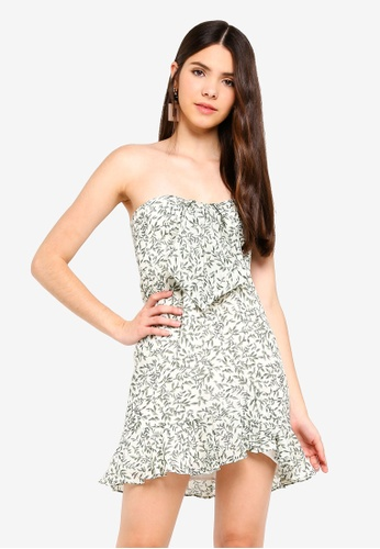 INDIKAH white Tie Front Bustier Ruffle Dress 019C4AA12A99E8GS_1