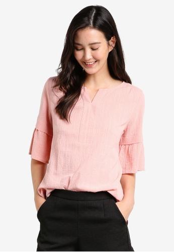 Geb. pink Bell Sleeve Top GE945AA06JBLMY_1