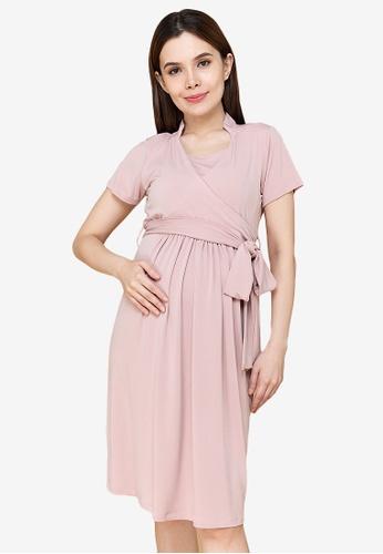 MOTHER 2 BE pink Diane Nursing/Maternity Dress 95A83AA27D8322GS_1