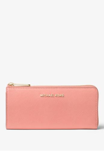 MICHAEL KORS pink Michael Kors Jet Set Travel Leather Quarter-Zip Wallet - Peach 27DE1ACFAA8EFBGS_1