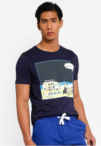 OVS 海軍藍色 Beach T恤 E91ACAA734CCE1GS_1