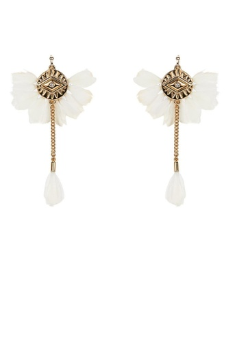 HIPANEMA white and multi and gold Earings Yucatan White with feathers 9FB57ACE9E233AGS_1