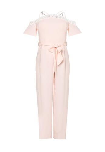 bef2b401c3a7 Buy Miss Selfridge Premium Pink Lace Cold Shoulder Jumpsuit Online ...
