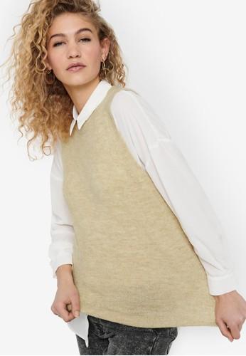 JACQUELINE DE YONG beige Eleanor Vest 9C67BAA068B019GS_1