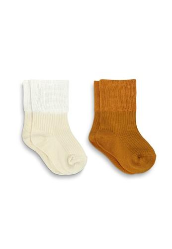 APAIR orange and multi and brown and beige Plain Basic Baby Crew Socks DB3A9KAE3DFAB4GS_1