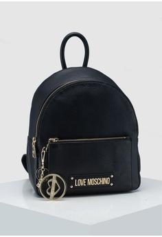 0156786116c3c Love Moschino black Pebble Grain Zip Around Backpack 112DFAC8755611GS 1