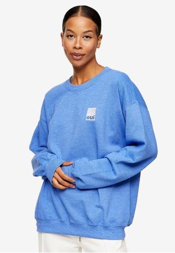TOPSHOP blue Blue Oui Sweatshirt 42476AA3D8409BGS_1