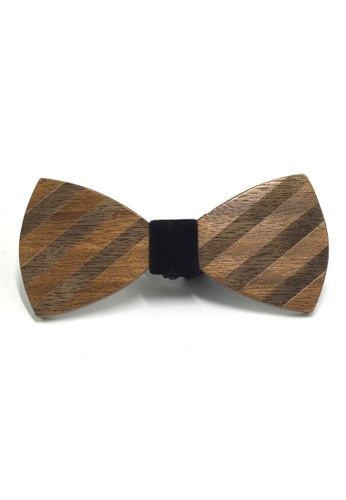 Splice Cufflinks Grove Series Dark Striped Design Wood Bow Tie SP744AC92QPZSG_1