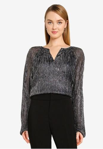 Banana Republic black Long Sleeve Shirred Top 32455AAEC3D4CCGS_1