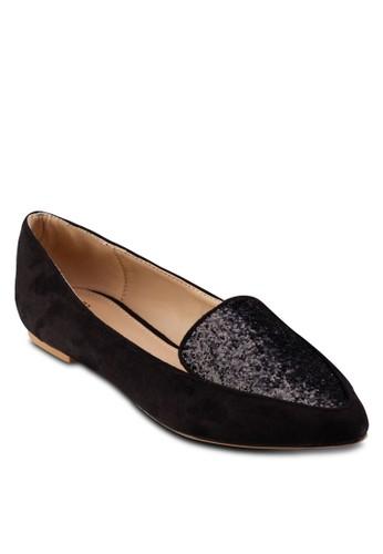 閃飾尖頭平底zalora開箱鞋, 女鞋, 鞋