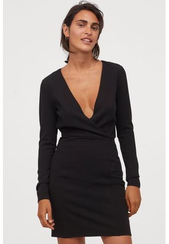 H&M black V-neck dress AC5F5AADB64995GS_1