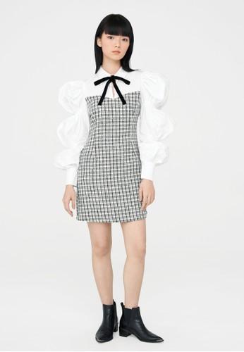 Pomelo white Mini Tweed Puffed Sleeve Dress - White A3C10AAEE6A224GS_1