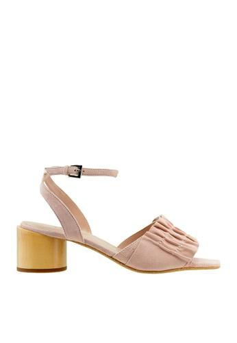 eq:iq pink eqSOPHIA Block Heel Ruffle Sandals EQ351SH23XQYSG_1