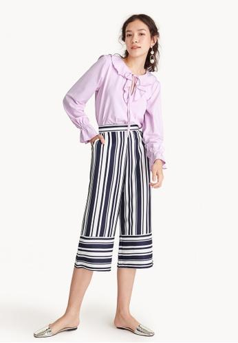 Pomelo navy Bold Stripes Cropped Pyjama Pants 28116AA3F1E568GS_1