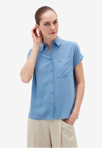 OVS blue Short-Sleeved Pocket Shirt 57E70AAE6857BAGS_1