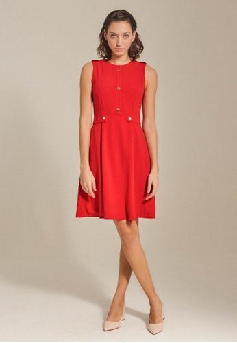Dressing Paula red Button-Embellished Dress 10B71AA5DE6456GS_1