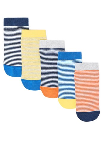 MARKS & SPENCER orange and yellow and blue and grey 5 Pack of Striped Trainer Liner Socks 97A5AKABCC88F0GS_1