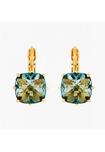 Les Néréides gold La Diamantine Acqua Azzura Square Stone Sleeper Earrings B2BC4ACA818C15GS_1