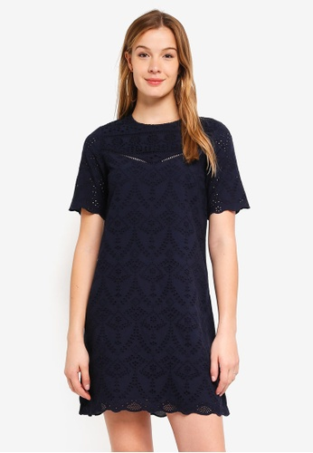 Dorothy Perkins navy Navy Broderie Dress 7C131AA2BB5334GS_1