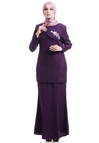 Ashura purple Medika Kurung With Asymmetrical Flare 18146AACDAD619GS_1