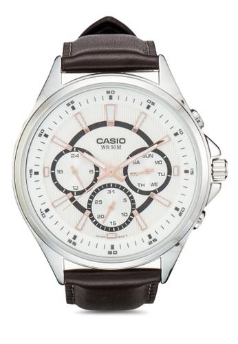 MTP-E303L-7AVDFesprit衣服目錄 三指針皮革男版手錶, 錶類, 飾品配件