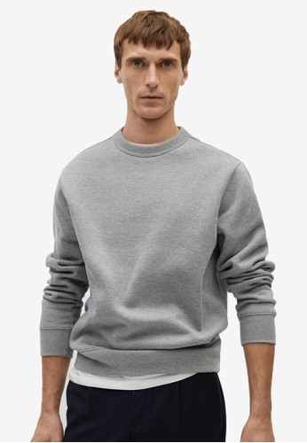 MANGO Man grey Plush Cotton Sweatshirt ADE4AAA8A4EB81GS_1