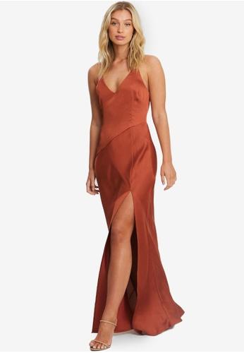 Chancery orange Adele Bias Maxi Dress 716FCAAC19F2D6GS_1