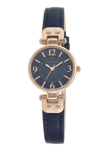 Anne Klein blue and gold Anne Klein Women's  10-9442RGNV Rose Gold-Tone and Navy Blue Leather Strap Watch 72F16ACC3E655BGS_1