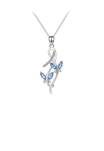 Glamorousky white 925 Sterling Silver Fashion and Elegant Butterfly Pendant with Blue Cubic Zirconia and Necklace 9A37EACD8EEFB9GS_1