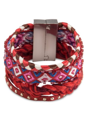 esprit tw民族風編織織帶寬手環, 飾品配件, 手鐲 & 手環