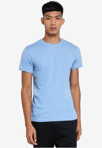 !Solid blue Rock Melange T-Shirt 489F6AAA045AA7GS_1