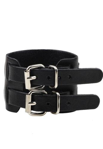 HAPPY FRIDAYS Wide Vintage Leather Double Buckle Bracelet QNW2167 07B11ACDA9AF61GS_1