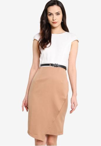 ZALORA WORK multi Cap Sleeve Asymmetric Dress 3E894AAD0645C0GS_1
