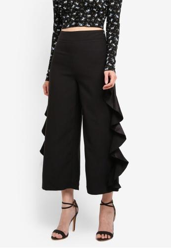 Miss Selfridge black Black Ruffle Side Crop Trousers 79CC6AAEC5549EGS_1