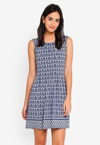 Max Studio blue and multi Knit Pleated Dress 9B8D7AA56075A6GS_1