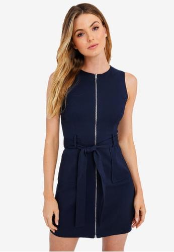 FORCAST navy Anika Tie-Waist Sleeveless Dress 8A759AAB04FB05GS_1