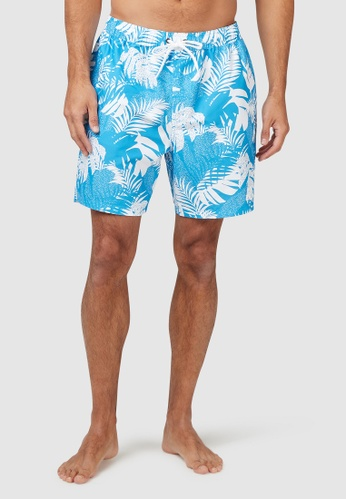Piping Hot blue Mid-Thigh Tropical Sustainable Swim Shorts with Drawstring 5B9B0USC40784DGS_1