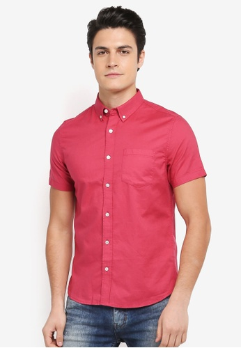 Burton Menswear London pink Short Sleeve Oxford Shirt 538A5AA63793BDGS_1