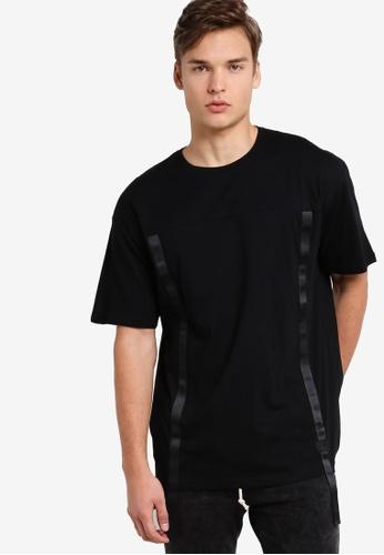 Flesh Imp 黑色 Front Tape Oversized T-Shirt FL064AA88NYDMY_1