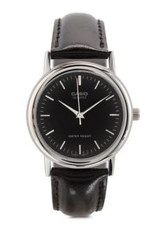 【ZALORA】 Black Leather Analog Watch MTP-1095E-1ADF