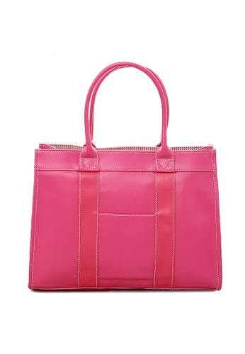 LULUGIFT pink Japan Imported OL Multi Functional Hand Carry Bag Pink LU989AC61CDYMY_1