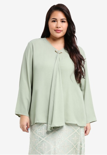 peace collections green Plus Size Ruffle Blouse 00EBBAAC938341GS_1