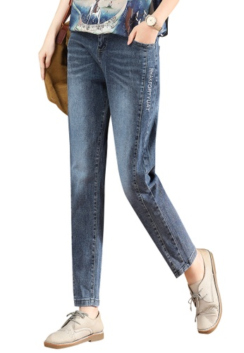 A-IN GIRLS blue Elastic Waist Embroidery All-Match Jeans 8F82DAAD7F49A9GS_1