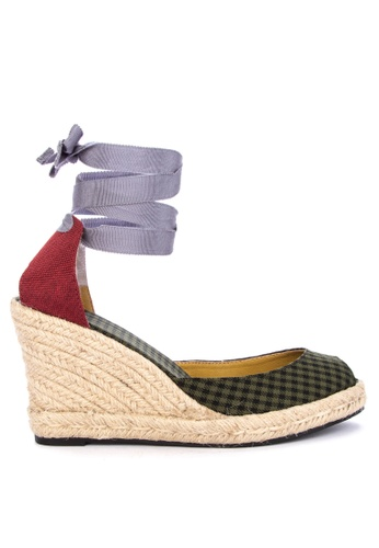 Daily Schedule New York green Checkered Wedge Sandals 873B1SH1A260ADGS_1