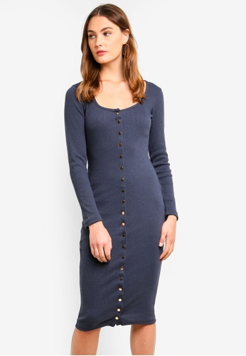 MISSGUIDED blue Ribbed Popper Midi Dress 72456AA7BE4674GS_1