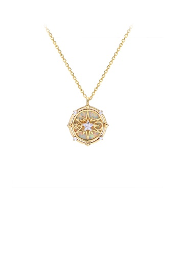 Glamorousky silver 925 Sterling Silver Plated Gold Fashion Creative Hollow Star Geometric Round Pendant with Cubic Zirconia and Necklace DCE6FACF801120GS_1
