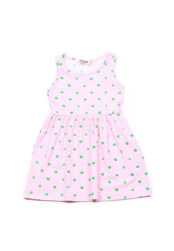 Mini Moley pink Water Coloured Polka Dot Print Girl's Dress 657A0KA4DB5FB4GS_1