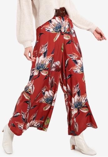 LC Waikiki 紅色 Patterned 縲縈 Overlay 褲 7E84EAA0263081GS_1