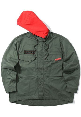 izzue green Hooded patch jacket 619CEAA38F0118GS_1